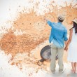 Hipster couple looking against world map — Stock Photo #68912005