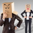Businesspeople with boxes over head — Stock Photo #68912655