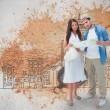 Hipster couple looking at map against world map — Stock Photo #68912915