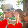 Couple leaning against tree in the park — Stock Photo #68912989