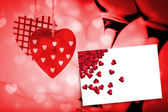 Red love hearts against white card — Fotografia Stock