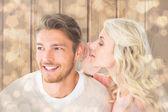 Blonde whispering secret to boyfriend — Stock Photo