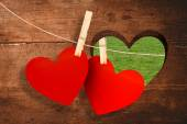 Hearts hanging on line — Stock Photo