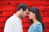 Angry couple staring at each other — Stock Photo