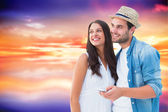 Happy hipster couple smiling together — Stock Photo