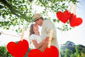Couple standing in the park embracing — Stock Photo