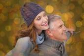 Carefree couple in warm clothing — Stock Photo