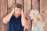 Man not listening to his shouting girlfriend — Stock Photo