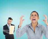 Man tied up with rope and furious businesswoman — Stock Photo