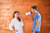 Man shouting through a megaphone — Stock Photo
