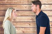 Childish couple having an argument — Stock Photo