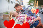 Couple dancing in the street — Stock Photo