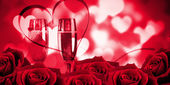 Rose against glowing red valentines composite — Stock Photo