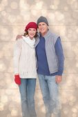 Happy couple in warm clothing — Stock Photo
