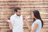 Angry brunette accusing her boyfriend — Stock Photo