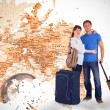 Couple going on holiday against world map — Stock Photo #68926505