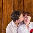 Woman getting roses from man — Stock Photo #68926807