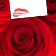Three red roses against white card — Stock Photo #68927701