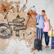 Couple ready to go on vacation against world map — Stock Photo #68928109