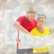 Lost tourist couple using map — Stock Photo #68928315