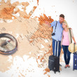 Couple ready to go on vacation against world map — Stock Photo #68929263