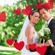 Loving newly wed couple in garden — Stock Photo #68929329