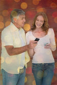 Casual couple sending text messages — Foto de Stock