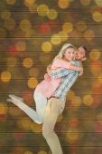 Man picking up and hugging his girlfriend — Stock Photo