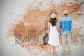 Happy hipster couple holding hands — Stock Photo