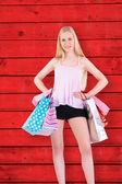 Blond hospodářství nákupní tašky — Stock fotografie