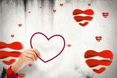 Cœur contre modèle coeurs d'amour — Photo