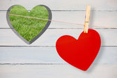 Heart hanging on line — Stock Photo