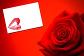 Red rose in bloom against card — Stockfoto