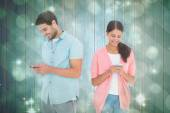 Couple sending text messages — Foto de Stock