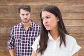 Brunette not listening to her boyfriend — Stock Photo