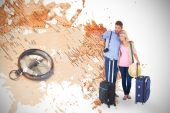 Couple ready to go on vacation against world map — Stock Photo