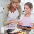 Happy mother and daughter preparing cake together — Stock Photo #68958079