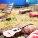 Empty campsite at music festival — Stock Photo #68978683