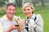 Szczęśliwa para golfa z trofeum — Zdjęcie stockowe