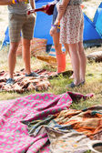 Hipsters having fun in their campsite — Stock Photo