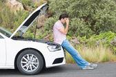 Desperate man after car breakdown — Stock Photo