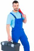 Repairman with toolbox and monkey wrench — Stock Photo