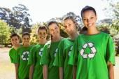 Environmental activists smiling at camera — Stock Photo