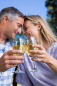 Paar erholsame im Park mit Wein — Stockfoto