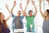 Fashion students with hands up — Stock Photo