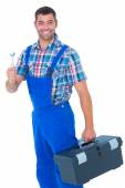Repairman with toolbox and spanner — Stock Photo