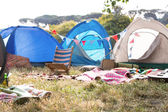 Empty campsite at music festival — Stock Photo