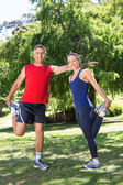 Fit couple stretching in the park — Fotografia Stock