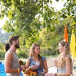 Hipsters having fun in their campsite — Stock Photo #68980099