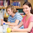 College students doing homework in library — Stock Photo #68982621